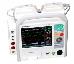 Semi-automatic external defibrillator with compact multi-parameter monitor